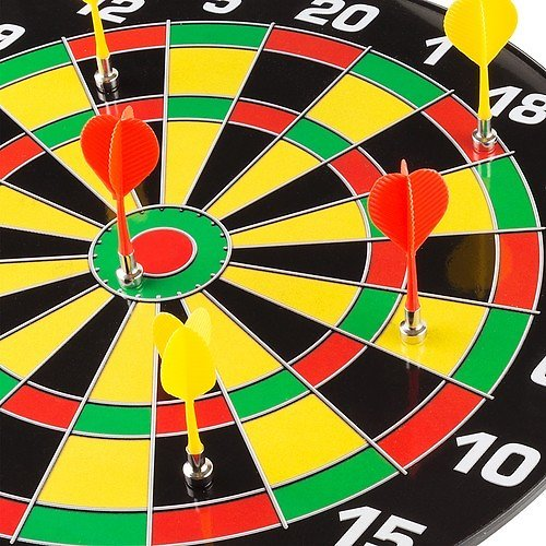Hey! Play! Magnetic Dart Board Set with 16 Inch Board, 6 Colorful Darts and Built In Hanging Hook Orange, Yellow, Green M340011