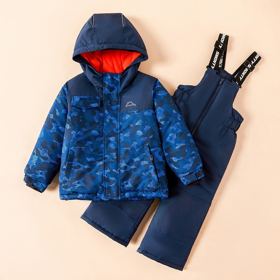 2-piece Toddler Striped Hooded Jacket and Snow Bib Ski Suit