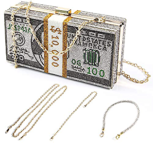 Money Clutch Purses for Women, Stack of Cash Dollars Crystal Clutch Purses, Women Diamond Evening Bags Party Cocktail Rhinestone Handbags, Wedding Dinner Bag