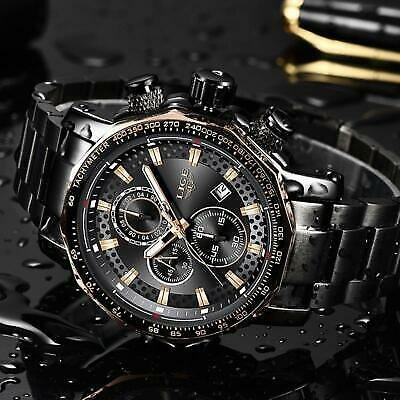 LIGE New Sport Chronograph Mens Wristwatches Top Brand Luxury Full Steel Quartz