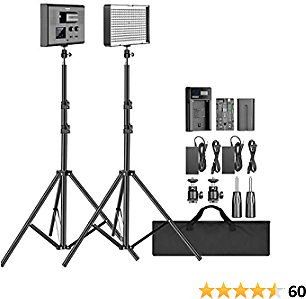Neewer 2-Pack 2.4G LED Video Lighting Kit: Bi-Color CRI 95+ 280 LED Panel with 2M Light Stand, LCD Display, 2.4G Remote for Photo Studio Photography, Ball Head/Battery/Charger/Carry Bag Included