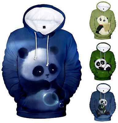 Men Women Sweatshirt 3D Art Wild Animels Panda Print Jacket Coat Pullover Hoodie