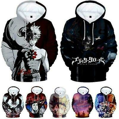 Anime Black Clover Unisex 3D Hoodies Long Sleeve Sweater Sweatshirts Casual Coat