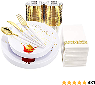 Nervure 175pcs White and Gold Plastic Plates with Snowflake&Gold Silverware with White Handle for Merry Christmas&Party Include 25Dinner Plates 25Dessert Plates 25Knives 25Forks 25Spoons 25Napkins