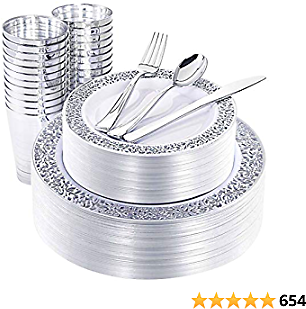 NERVURE 150 Piece Silver Lace Plastic Plates & Silver Plastic Silverware, Service for 25 Guests : 25 Dinner Plates,25 Dessert/Salad Plates 25 Forks,25 Knives, 25 Spoons, 25 Cups.