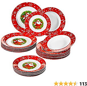 VEWEET Series SANTACLAUS, 18-Piece Porcelain Stoneware Dinnerware Set, Service for 6 Person, Tableware Plate Set with Dessert Plate, Soup Plate and Dinner Plate, Combination Service for Christmas