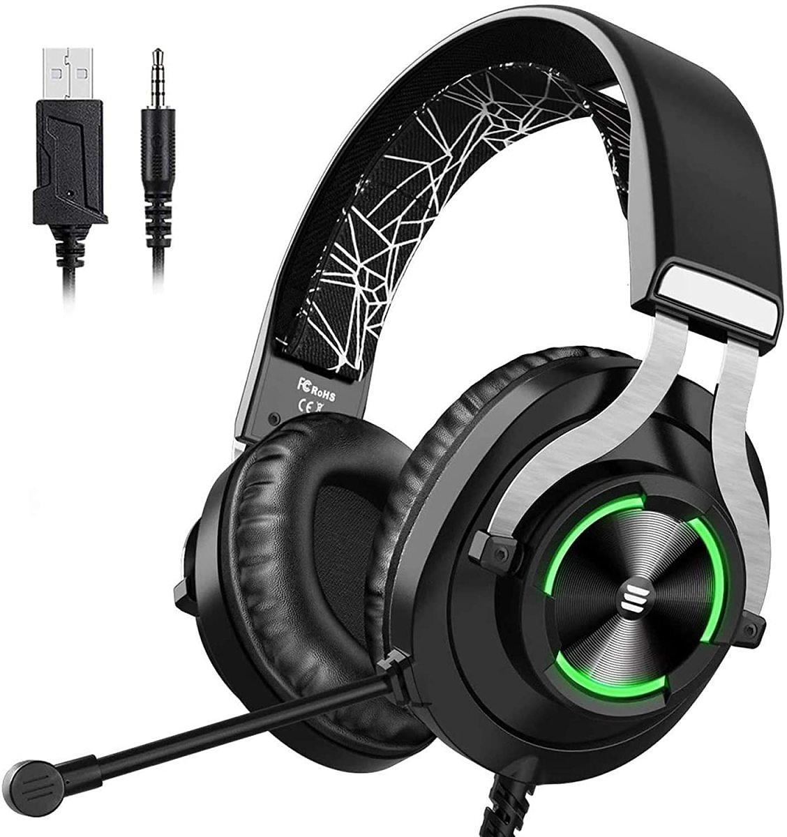Gaming Headset with Noise Cancelling Mic for PC, Laptop, Xbox One Controller, PS4