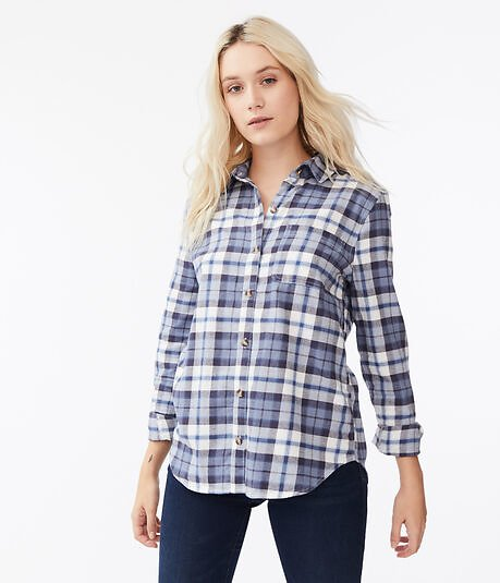 Long Sleeve Plaid Button-Down Shirt - Blue