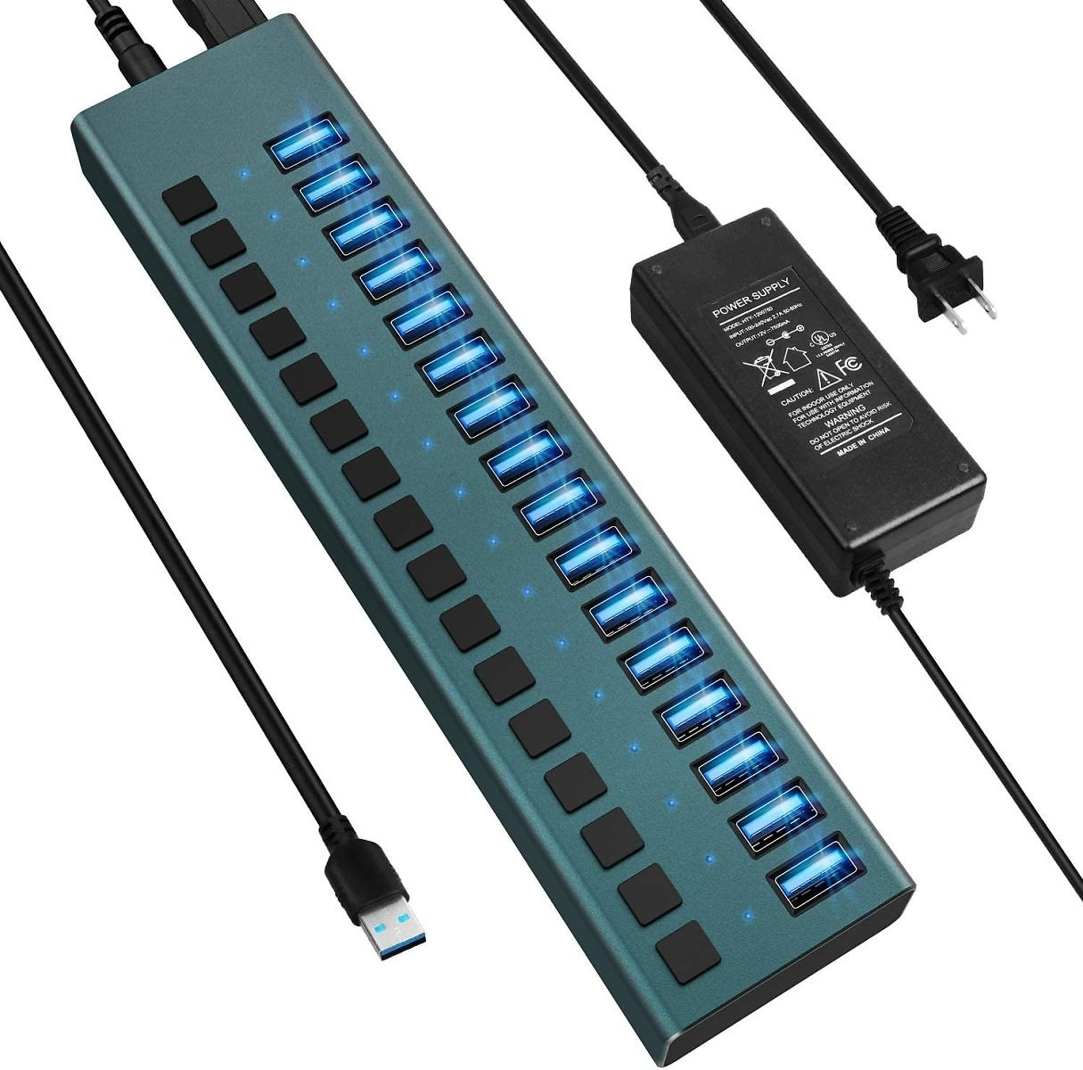 Prime Members: 16-Port USB 3.0 Hub with Individual On/Off Switches and Power Adapter for $55.99