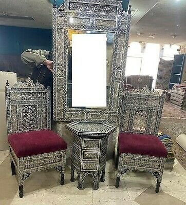 Antique Corner Set Carved Wood 2 Chairs & Table with Mirror Inlaid Shell