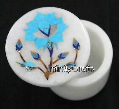 Marble Pin Box Inlaid with Turquoise Stone Trinket Box Home Decor 2.5 X 2 Inches