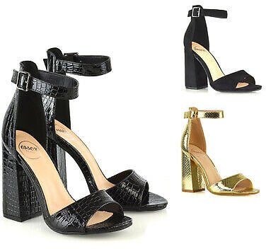 Womens High Heel Ankle Strap Sandals Ladies Block Open Toe Party Shoes Size 3-8