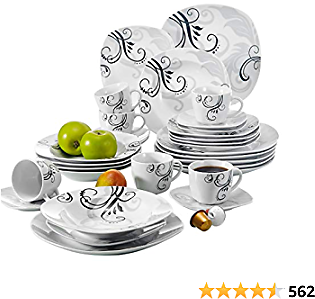 VEWEET 30-Piece Porcelain Square Dinnerware Set Decal Patterns White Plate and Bowl Set with Dinner Plate, Soup Plate, Dessert Plate, Saucer and Mug, Service for 6 (ZOEY Series)