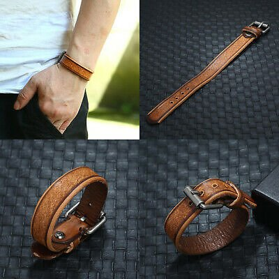 Punk Men Boy Handmade Leather Bracelet Bangle Wristband Surfer Wrap Cuff Jewelry