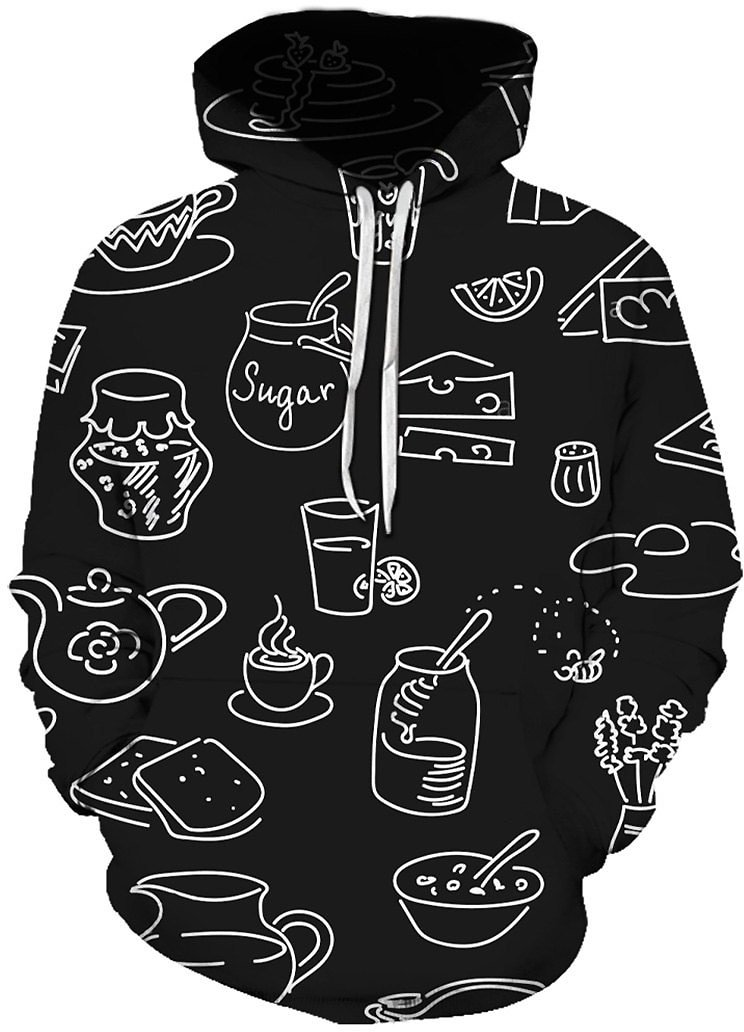 Abstract Bottles Print Front Pocket Hoodie