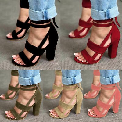 Fashion Women High Block Heels Open Toe Ladies Lace Up Strap Sandals Party Shoes