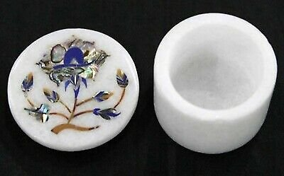 2.5 Inches Marble Decorative Box Inlay Trinket Box with Abalone Shell Stones