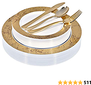 Elegant Plastic Plates with Plastic Silverware - Service for 25 Guests Disposable Plates and Cutlery Dinnerware Set for Wedding, Birthday, Thanksgiving, Holiday, Party (Gold Marble)