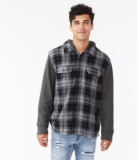 Long Sleeve Hooded Flannel Button-Down Shirt - Gray