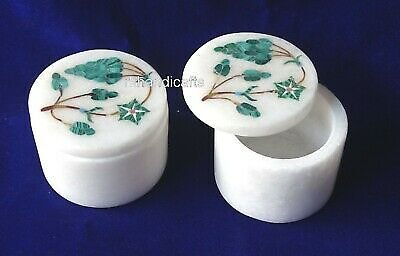 2.5 Inch 2 Piece Marble Pin Box Inlay Earring Box Malachite Stone Gift For Her