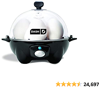 DASH Black Rapid 6 Capacity Electric Cooker for Hard Boiled, Poached, Scrambled Eggs, or Omelets 2020
