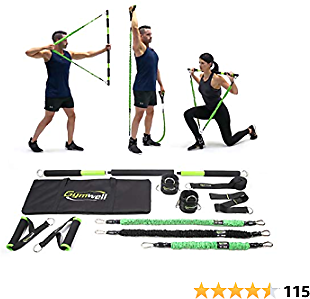 Gymwell Portable Home Gym with 3 Sets of Resistance Bands, Total Body Workout Equipment for Home, Office or Outdoor