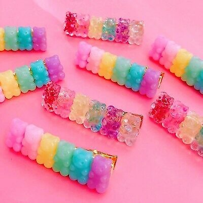 Handmade Kawaii Resin Gummy Bear Hair Clips Pastel Fairy Kei Sweets Accessories
