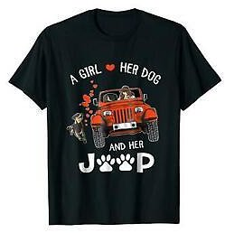 A Girl Love Her Dog And Her Car Cute Printed Cotton Black T-Shirt