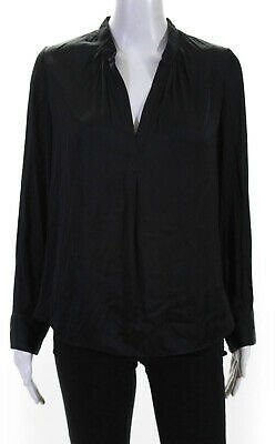 Zadig & Voltaire Womens Long Sleeve V Neck High Low Shirt Gray Size Small