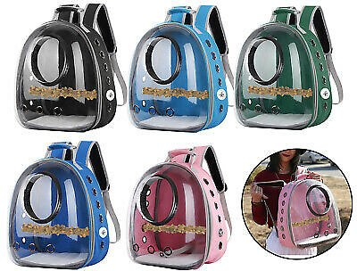 Portable Birds Parrot Travel Cage Clear Lightweight Breathable Backpack Carrier