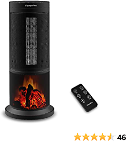 Portable Ceramic Space Tower Heater Oscillating with Realistic Flame Effect for Indoor Use- Remote Control 12H Timer Tip-over&Overheating Protection, Adjustable Thermostat for Home Office Black