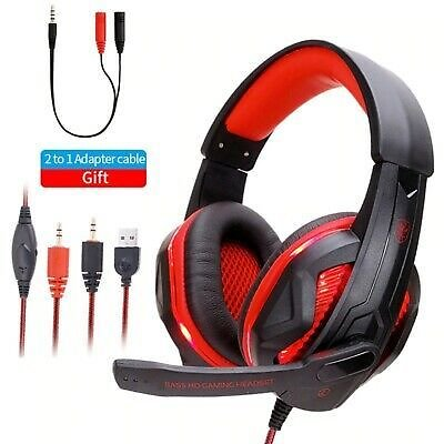 Gaming Headset USB Wired LED Headphone Headband Stereo with Mic For PC