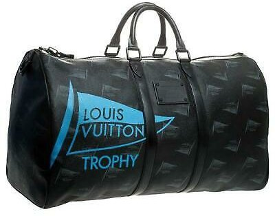 Louis Vuitton Waterproof LV Cup Dubai Black Keepall Bandouliere 55 with Strap