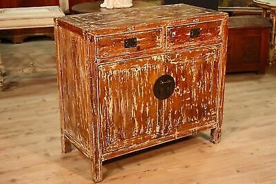 Cupboard Chinese Furniture 2 Panels 2 Drawers Wood Lacquered Antique Vintage 900
