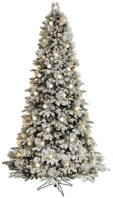7.5-ft Candlewood Pine Pre-Lit Traditional Flocked Artificial Christmas Tree with LED Lights