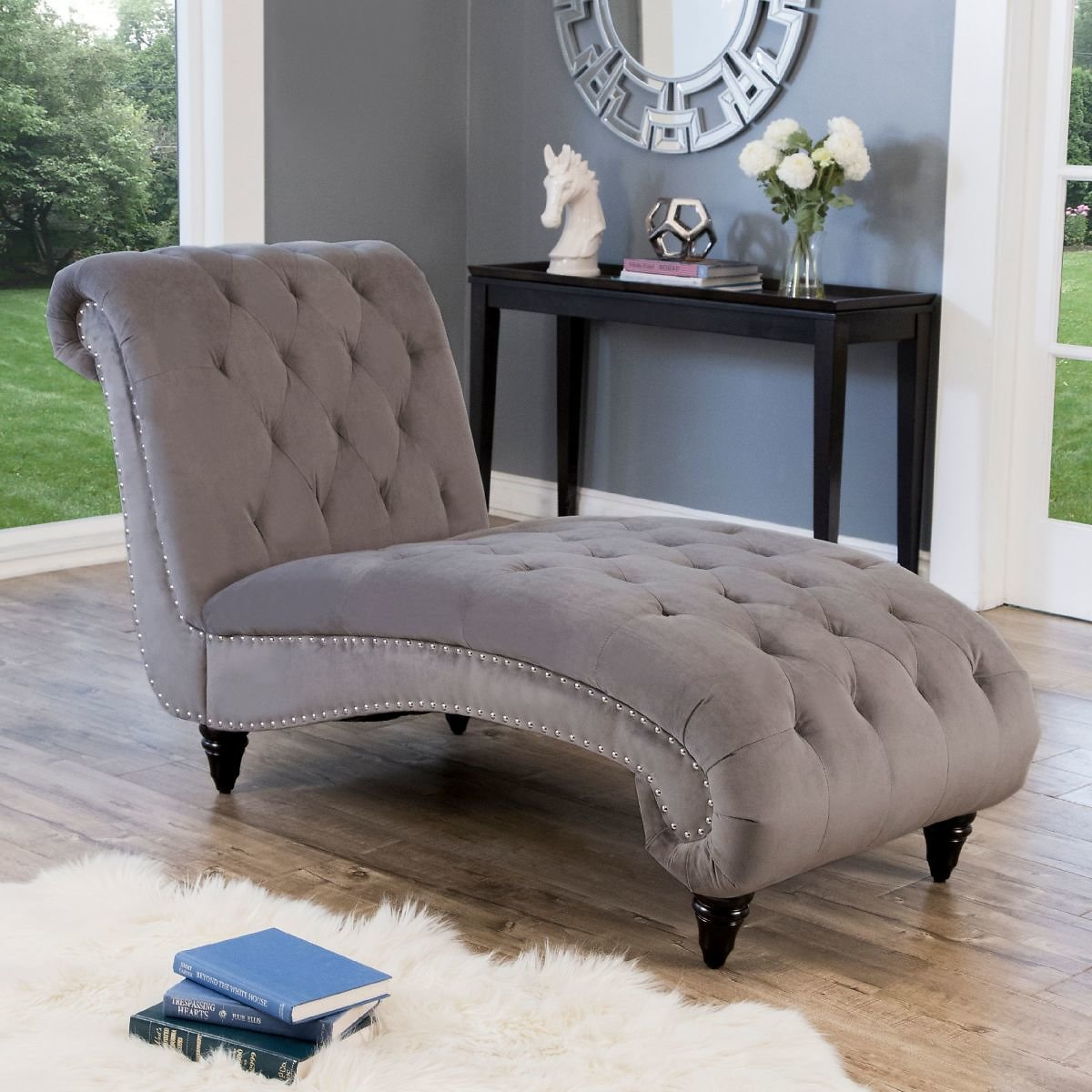 Devon & Claire Martin Tufted Fabric Chaise Lounge, Gray