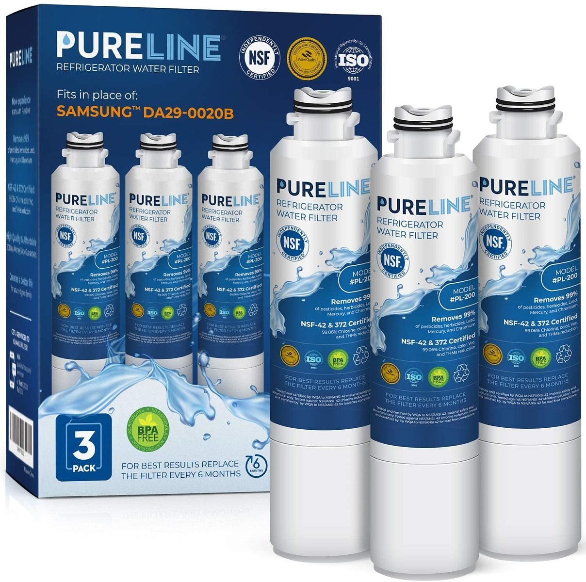 PURELINE DA29-00020B Water Filter Replacement. Compatible with Samsung DA29-00020B-1, DA29-00020B, Haf-Cin Exp, RF4267HARS, RF28