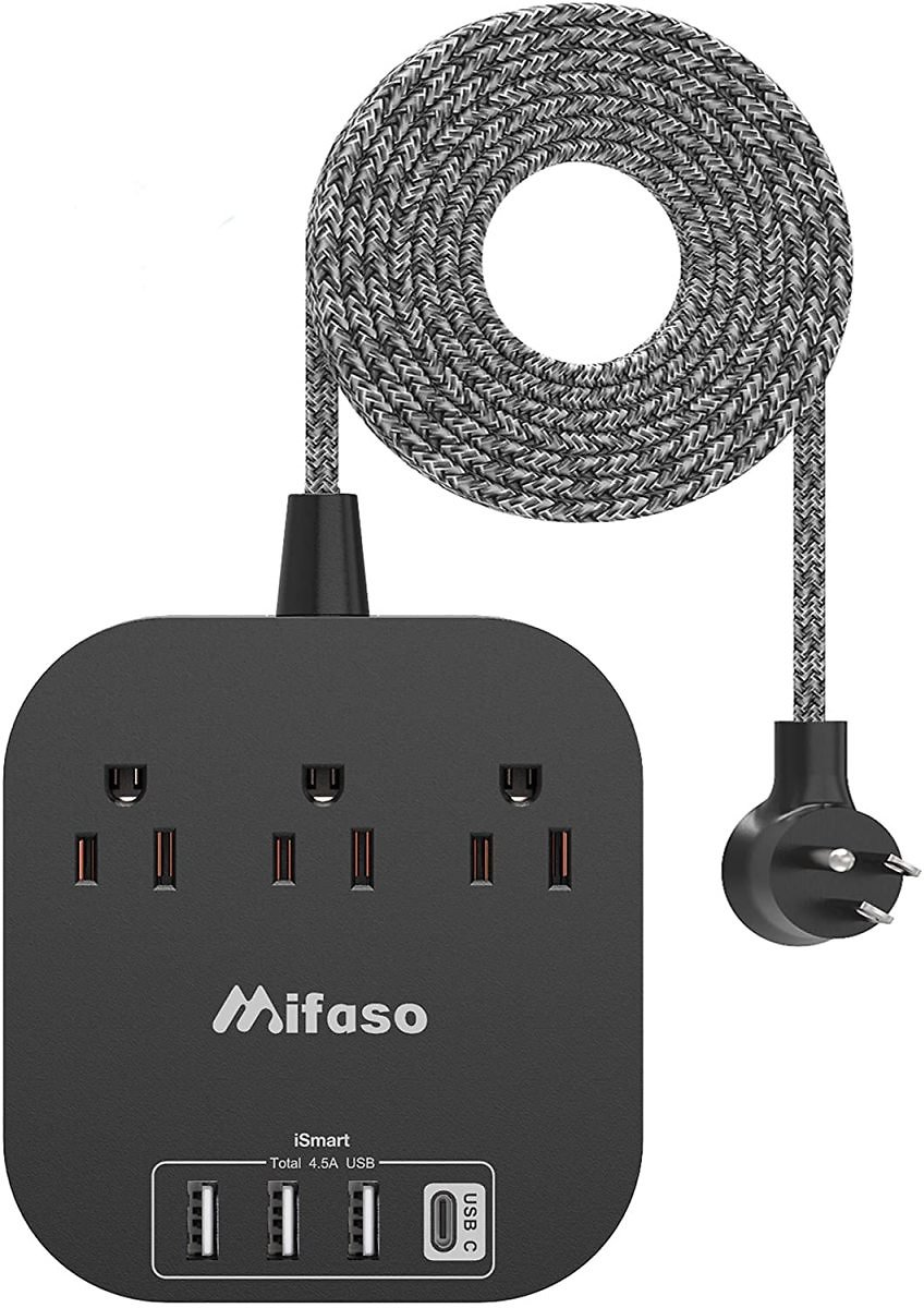 Power Strip with USB C, 3 Outlet 4 USB Ports 4.5A Flat Plug Desktop Charging Station, Non Surge Protector with 5ft Heavy Duty Br