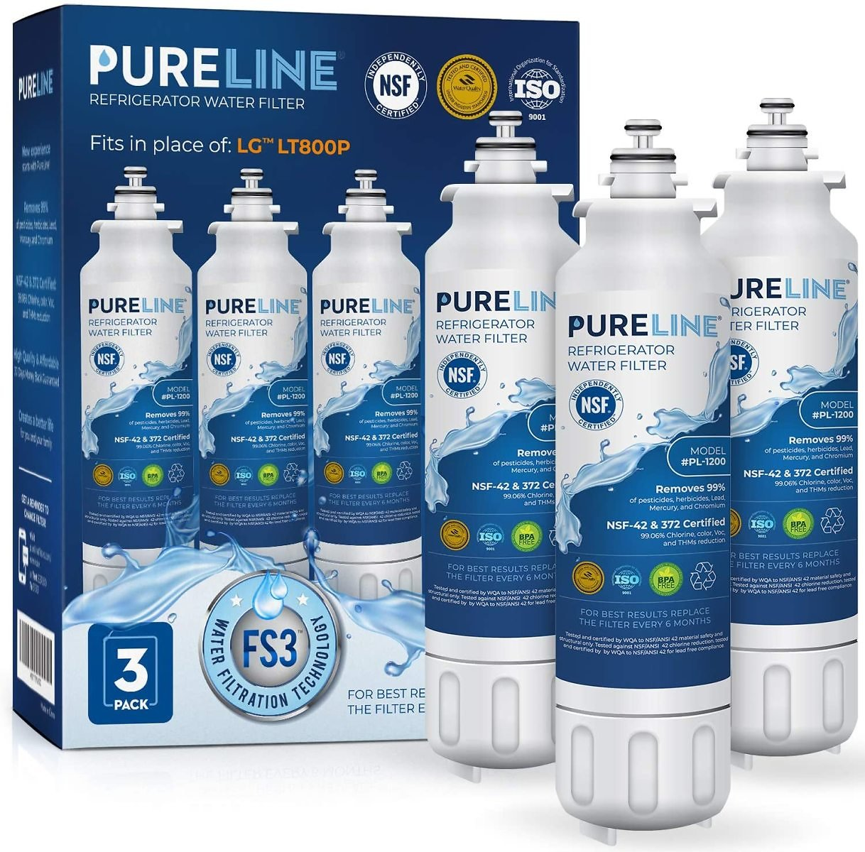 PURELINE 9490 & LT800P Water Filter Replacement with Advanced Filtration. Compatible with Kenmore 9490, LG LT800p, LG ADQ7361340