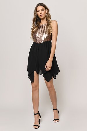Kiss Me At Midnight Gold & Black Sequin Skater Dress