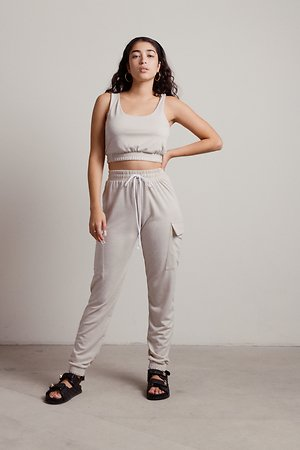 Another Listen Beige Lounge Crop Tank and Sweatpants Set