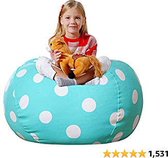 Aubliss Stuffed Animal Bean Bag Storage Chair, Beanbag Covers Only for Organizing Plush Toys, Turns Into Bean Bag Seat for Kids When Filled, Large 38