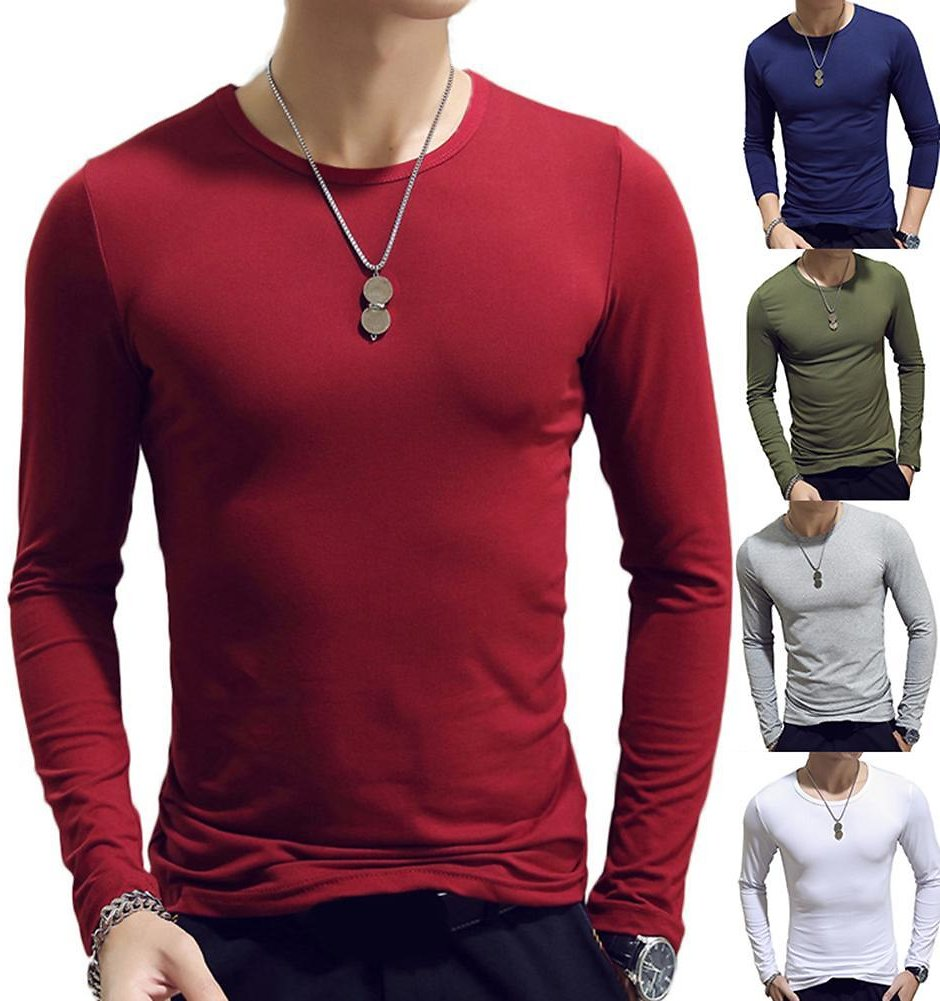 US $2.77 45% OFF|Men T Shirt Long Leeve Cotton Spring Autumn Thermal Undershirt Armor Mens T Shirts Full Sleeve Round Neck Casual Men'S Tees Hot|T-Shirts| - AliExpress