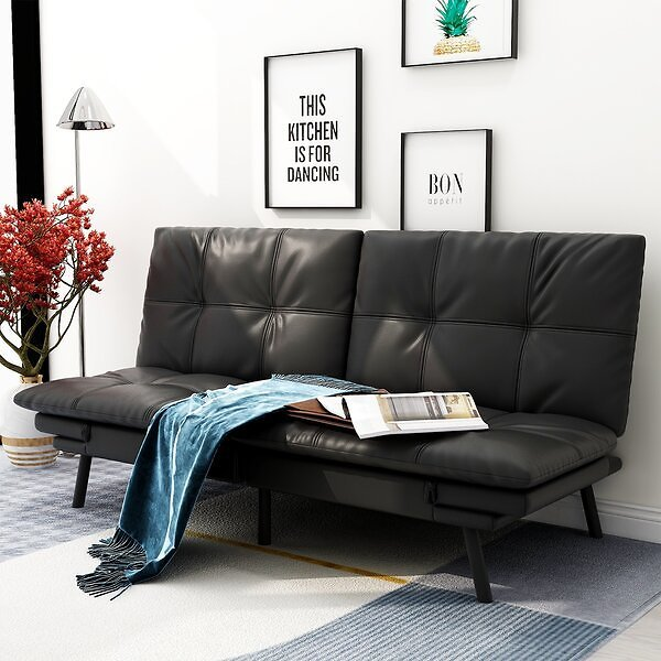 Faux Leather Futon Sofa Bed for Small Space