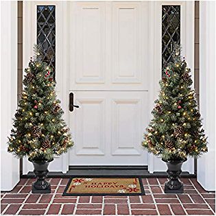 Glitzhome 4ft Flocked Artificial Christmas Tree with 100 Warm White Light, Pinecone and Berries Holiday Decoration Set of 2