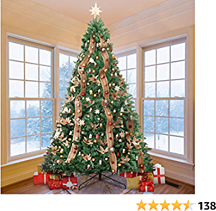KINGSO 9ft Artificial Christmas Tree Large Spruce Hinged Full Christmas Trees Xmas Pine Tree for Home Office Party Holiday Decorations with Metal Foldable Stand, 2800 Branch Tips