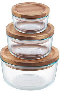 Pyrex Wood Storage 6-Pc. Container Set