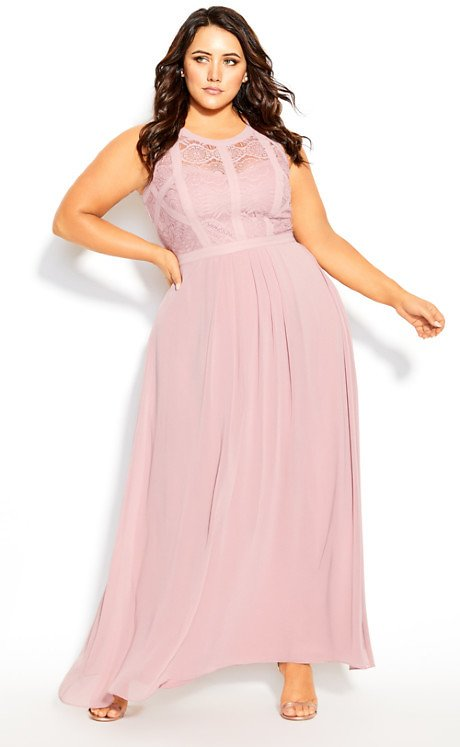 Panelled Bodice Maxi Dress - Rose