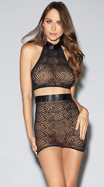Mosaic Lace Bralette and Skirt Set