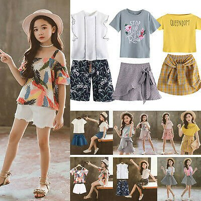 Children Kids Toddler Baby Girls Lace Ruffles Tops Tee Bow Shorts Skirt Outfits